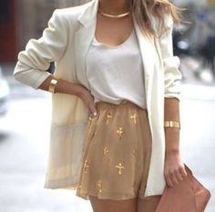 #summer #fashion / all white and gold