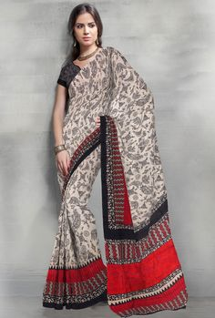 Off-White & Black Printed Casual saree #OnlineShopping for #latest #designersarees #weddingsarees #partywearsarees and #Indiansarees on #variationfashion