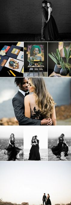 The ultimate look for a modern wedding with a beautiful black wedding dress and natural decor elements | Tyme Photography