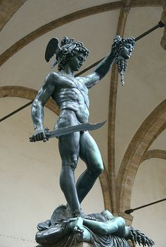 Perseus holding the head of The Medusa.