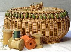 A beautiful Wicker Basket for Sewing Supplies with Draw String Opening.