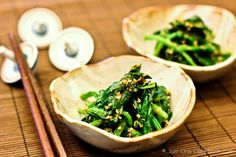 gomaae (Japanese-style cold spinach)  will sub maple syrup for sugar and use Gamasio & lemon juice