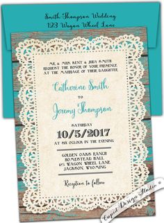 Rustic wedding invitation. Country. Lace and wood. by CupidDesigns
