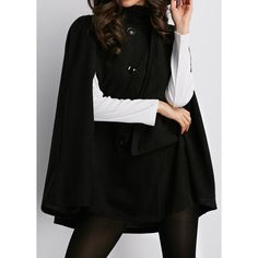 Solid Black Double Breasted Cloak Long Coat ($29) ❤ liked on Polyvore featuring outerwear, coats, black, double-breasted coat, pattern coat, leather-sleeve coats, cotton coat and print coat