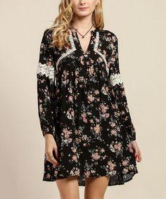 Black Floral Crochet-Accent Shift Dress #zulily #zulilyfinds