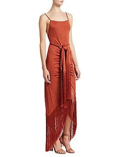 Cult Gaia Natalia Tie-waist Fringe Dress In Terracotta Wrap Dress, Dress Up, Fringe Dress, Budget Fashion, Formal Looks, Gaia, Spring Summer Fashion, Lady In Red, Evening Gowns