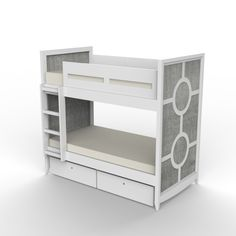 The regency bunk bed channels old hollywood with its retro silhouette accented with chic circle medallions. twin – storage drawers 79w 72.75h 42.5d twin – trundle 84w 72.75h 42.5d