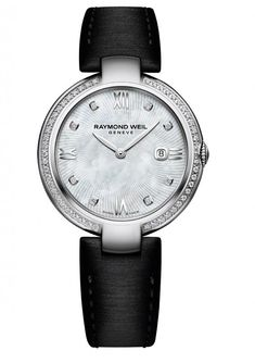 A ladies' timepiece from the Raymond Weil Shine collection features a mother-of-pearl dial, leaf-shaped steel hands, applied Roman numerals, inset fluted winding crown, 49 diamonds on the case and Raymond Weil's recently introduced, brand-patented interchangeable bracelet.  More @ http://www.watchtime.com/wristwatch-industry-news/watches/the-eyes-have-it-raymond-weil-noemia-and-its-inspiration-actress-katheryn-winnick/ #raymondweil #watchtime #ladieswatches