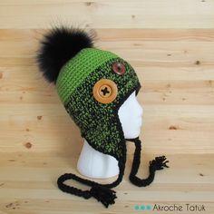 Crochet Hat For Women, Crochet For Kids, Winter Wear, Winter Hats, Foundation Single Crochet, Crochet Chain, Crocheted Hats, Pom Pom Hat, Half Double Crochet