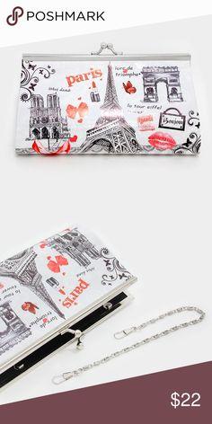 "Cute and Trendy Eiffel Tower clutch • Style No : 309734-1 • Color : Black, Light Grey, Red  • Size : 7.5"" W, 4"" H, 2"" D • Strap Size : 11"" L / Detachable • Paris eiffel tower & kiss mark clasp purse clutch bag with metal chain strap Farah_lux Bags Clutches & Wristlets"