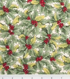 Holiday Inspirations Fabric-Vintage Holly Natural & Holiday Fabric at Joann.com