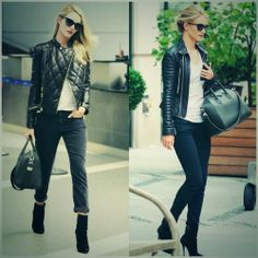 How to Chic: ROSIE HUNTINGTON WHITELEY IN LEATHER JACKET Moto Jacket, Leather Jacket, Plain White T Shirt, Clothes Encounters, Burberry Prorsum, Rosie Huntington Whiteley, Get Dressed, Her Style, Everyday Fashion