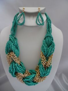 Clip on earring turquoise & gold braided seed bead necklace set  $19.99 https://hipandcoolcliponearringstwo.com