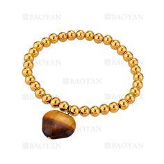 pulsera de bolitas con piedra de dorado en acero-SSBTG1094297