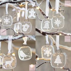 A set of eight very cute fused glass Christmas tree decorations or gift tags.You will receive 8 decorations in the following designs: Star, Snowflake, Stocking, Bell, Deer, Mitten, Bird and Gingerbread man. They come carefully wrapped in a gift box. 3cm by 3cm