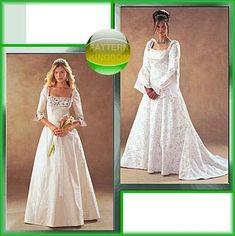 McCalls 3869 Romantic Medieval Bridal Gown Patterns. The one on the right is my favorite, but I would make it with wider, drooping sleeves, open up the front to a skirt of matching material to the top inset.