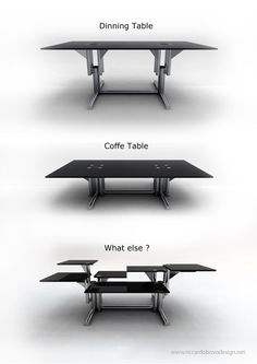 AdjusTable by Riccardo Bovo, amazing table for small spaces. Coverts from coffee table, to dining table to computer desk to