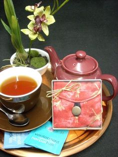 Tea Bag Travel Wallet - Dragonflies on Red, $9.95