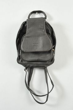 QUALITY LEATHER 90s SMALL BACKPACK Vintage Black Rucksack, Urban Multiway, Rare