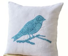 Bird On A Branch Blue Bird Embroidered on White Linen Pillow Case