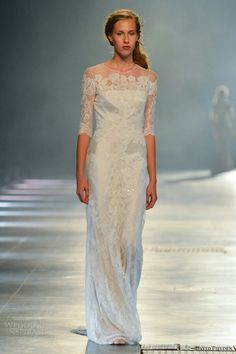 {Gorgeous Satin Sheath With Beaded Lace & Lace Applique Over Illusion Half Sleeves by David Fielden Bridal 2014}