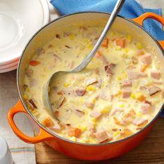 Ham Chowder Recipe, Chowder Soup, Chowder Recipes, Soup Recipes, Cooking Recipes, Fall Recipes, Recipes Using Ham, Dessert Recipes, Oven Cooking