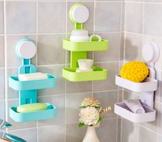 Double Layer Soap Plastic Suction Cup Bathroom Acessory Shower Soap Dish Holder16052610