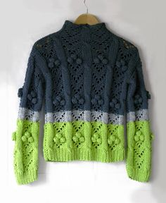 Lime green grey sweater handmade Light green gray jumper