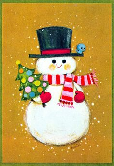 Oh Gosh, what a cute snowman and the little blue bird perched on his hat! Vintage Christmas Card