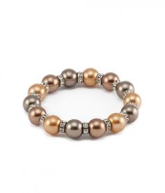 Gradual Series Brown Pearl and White CZ Bracelet, Brown Stylish #Pearls #Bracelets for Girls and women