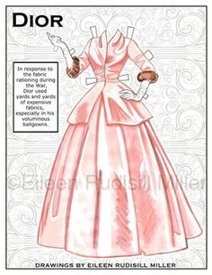 Poupée de papier en Dior par PaperDollsbyERMiller sur Etsy Plus