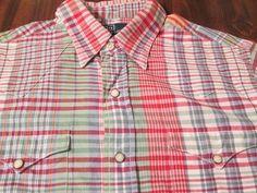 Polo Ralph Lauren Western Shirt~Sz M~Plaid Cotton+Snaps+Pockets #RalphLauren #Western