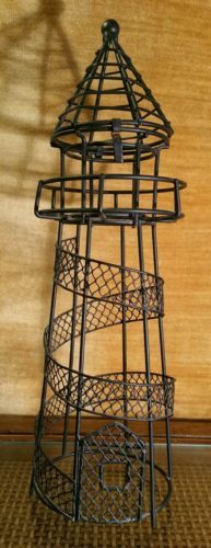 Black Metal Wire Lighthouse Tea Light/votive Candle Holder Home Decor Nautical