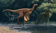 The ostrich-like dinosaur in the foreground is Rativates evadens. The ostrich-like dinosaurs behind it suggest what Qiupalong may have looked like. (Reconstruction ©Andrey Atuchin.)