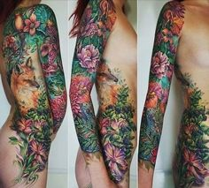 This is Stunning! Fox and garden tattoo