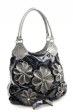 Black   Gray purse with Flowers. Pretty Summer Purses f6c4dfd07675d