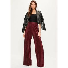 Missguided Burgundy Crinkle High Waisted Wide Leg Trousers ($36) ❤ liked on Polyvore featuring pants, wine, high waisted trousers, white high waisted trousers, wide leg pants, white wide leg pants and white high waisted pants