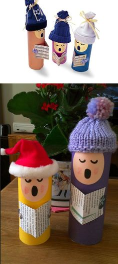 Toilet Roll Choirs | Click for 25 DIY Christmas Crafts for Kids to Make | DIY Christmas Decorations for Kids to Make