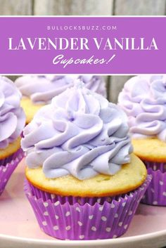 Delectable vanilla cupcakes are topped with a mouth-watering lavender flavored buttercream frosting in this simple Lavender Vanilla Cupcakes recipe.
