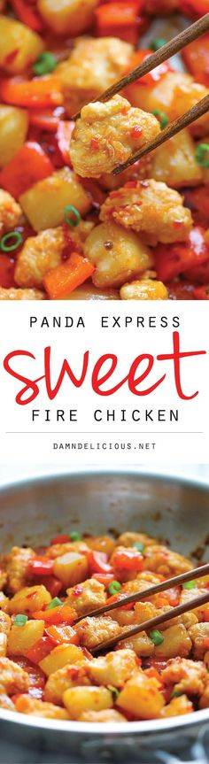 Panda Express Sweet Fire Chicken Copycat INGREDIENTS  1 tablespoon olive oil 1 red bell pepper, chopped 1 1/2 cups diced pineapple, fresh or canned 1/2 cup Thai sweet chili sauce, or more, to taste 2 green onions, thinly sliced FOR THE CHICKEN 1/2 cup vegetable oil 1 pound boneless, skinless chicken breasts, cut into 1-inch chunks 1 cup all-purpose flour 2 large eggs, beaten