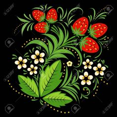 Illustration of Strawberries painting element in Russian folk style hohloma. Large, single object on a black background. vector art, clipart and stock vectors. Folk Art Flowers, Flower Art, Love Painting, Painting Tips, Watercolor Painting, Folk Fashion, Native American Fashion, Russian Folk Art, Boat Art