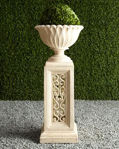 "$450 Urn, 20""Dia. x 16""T. Boxed weight, approximately 35.2 lbs. Pedestal, 15""Sq. x 30""T. Boxed weight, approximately 56.1 lbs."