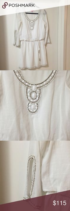 Lilly Pulitzer white dress Beautiful white dress with draw string waist and beaded trim. Only worn once! Lilly Pulitzer Dresses Mini