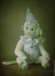 Teddy Bears handmade. Order Monkey amber author collectible toy Teddy. Aleksandra Kulikova (listeningdwarfs). Livemaster. Felted monkey #teddy #bear #teddybear #handmade #artdoll #ooakteddy #toy #bunny #teddybunny #rabbit #teddyrabbit #motherday