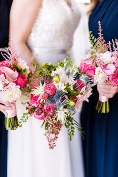 Colorful bouquets by Elegance & Simplicity | Photo by Amber Kay Photography | Colorful Historic Mansion Wedding on heartlovealways.com