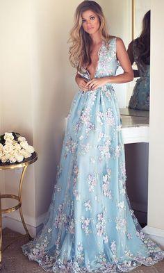 blue deep v-neck wedding dress idea via Lurelly - Deer Pearl Flowers / http://www.deerpearlflowers.com/wedding-dress-inspiration/blue-deep-v-neck-wedding-dress-idea-via-lurelly/