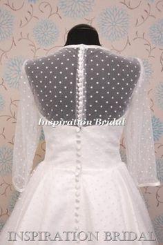 32cfcb166c0f 1587 uk short knee tea length wedding dress polka dot white ivory long  sleeves satin edge