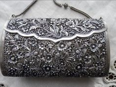 Antique Chinese Silver .Embossed Repousse, open work Handbag.