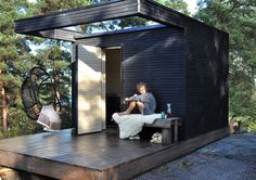 "One+ modular housing system lets you ""add a room"" or sauna. By Add a Room. Outdoor Sauna, Outdoor Decor, Sauna House, Add A Room, Pergola, Tiny House, Modular Housing, Small Buildings, Contemporary Garden"