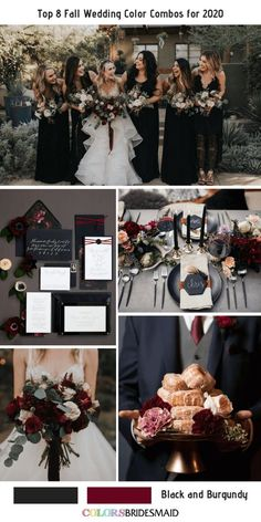 Top 8 Fall Wedding Color Combos for Black + Burgundy. burgundy wedding Top 8 Fall Wedding Color Combos for 2020 Black Bridesmaids, Black Bridesmaid Dresses, Halloween Bridesmaid Dress, Wedding Dresses, Fall Wedding Colors, Wedding Color Schemes, Fall Wedding Themes, Burgundy Wedding Colors, Colors For Weddings